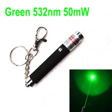 532nm Green Laser Pointer, 50mW class 3B laser, small mini shape, powered by one AAA battery(not included), laser beam range is about half a mile, aluminum alloy shell with a keychain. There are 3 optional shell colors for this series: black, white, and