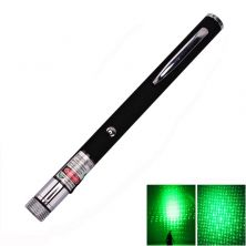5mW 532nm Green Laser Pointer Starry-Light-Lens Pen-Shape Black