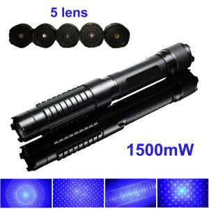 1500mW 445nm Blue High Power Burning Laser Pointer Adjustable-Focus 5-Lens