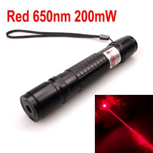 200mW 650nm Red Laser Pointer Zoomable-Focus Interchangeable-Lens Grid-Black-Shell