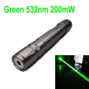 650nm Red Laser Pointer, 200mW class 3B laser, flashlight shape, focus is adjustable, 11.28mm interchangeable lens, powered by one 18650 battery(not included), laser beam range is greater than 1 miles, IP67 waterproof, silver aluminum alloy shell with gri
