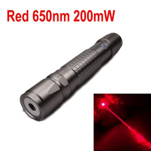 200mW 650nm Red Laser Pointer Zoomable-Focus Interchangeable-Lens Grid-Silver-Shell