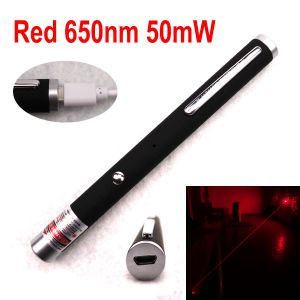 50mW 650nm Red Laser Pointer, Pen-Shape, Zoomable-Interchangeable-Lens, Starry-Laser-Beams, Built-in-Rechargeable-Battery, Micro-USB-Charging-Port.