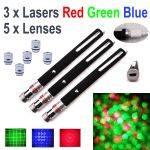 3 Pack 50mW USB Laser Pens, 1*Red 1*Green 1*Blue,  plus 5 Lenses