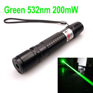 200mW 532nm Green Laser Pointer Zoomable-Focus Interchangeable-Lens Grid-Black-Shell