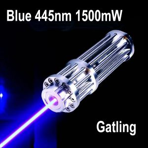 1500mW 445nm Blue High Power Burning Laser Pointer Zoomable-Lens Silver