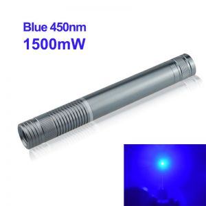 1500mW 450nm Blue High Power Burning Laser Pointer Silver