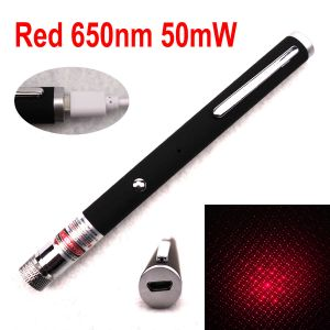 50mW 650nm Red Laser Pen Starry-Beams Interchangeable-Lens Built-in-Rechargeable-Battery
