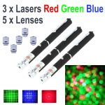 3 Pack 5mW Laser Pens, 1*Red 1*Green 1*Blue,  plus 5 Lenses
