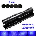 High Power 1500mW 445nm Blue Laser Pointer, able to light matches, cigarettes, burn papers, plastics, wood, and engrave on low melting point metals. Laser brightness and focus is adjustable. Interchangeable lens design, come with 5 laser lens.